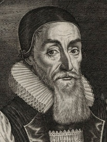 A line drawing of Hall with a hood and long beard
