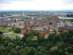 The view over the Kelvingrove Art Gallery and Museum from the University of Glasgow tower