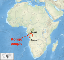 Distribution of the Kongo people in Africa (approx)