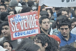Chilean students demonstrate for greater public involvement in education.