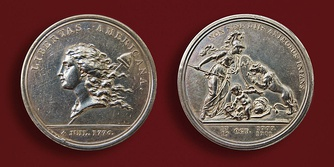 Benjamin Franklin honored the victory in Saratoga by commissioning and designing an Augustin Dupré medallion. It was minted in Paris in 1783.[107]