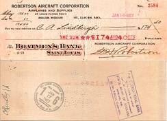 Pen endorsed (as CA Lindbergh Jr) paycheck as an Air Mail pilot dated January 15, 1927.