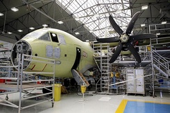 A C-27J Spartan on the assembly line in Italy