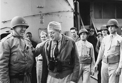 Patton (left) with Rear Admiral Henry Kent Hewitt aboard USS Augusta, off the coast of North Africa, November 1942