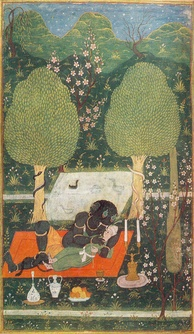 Makhan embraced by an ifrit. Illustration to Nizami's poem Hamsa. Bukhara, 1648.