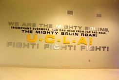"Lyrics to fight song ""Mighty Bruins"" on display."