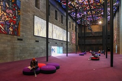 The world's largest stained-glass ceiling in the NGV's Great Hall, designed by Australian artist Leonard French[8]