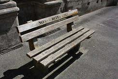 Non-whites only bench outside Cape Town High Court is an example of how public amenities were segregated according to race