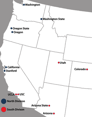 Locations of current Pac-12 Conference full member institutions.