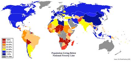 Удельный вес населения стран мира с доходами ниже национальной черты бедности (по данным ЦРУ)