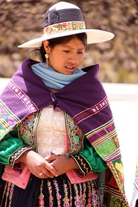 Indigenous woman in traditional dress, near Cochabamba, Bolivia