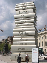 Walk of Ideas, Berlin, a sculpture honoring Johannes Gutenberg and some of Germany's most influential writers