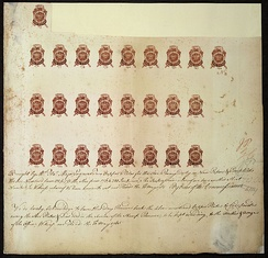 Proof sheet of one-penny stamps submitted for approval to Commissioners of Stamps by engraver, May 10, 1765