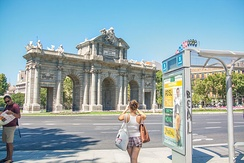 Madrid has several gates. This one the Puerta de Alcalá belonged to the old walls of Madrid.