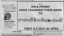 Advertisement placed in Oxford music magazine Curfew announcing On a Friday's change of name[17]