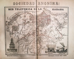 An 1895 map of the first telephone network in Havana, Cuba on display in the ETECSA Telephone Museum.