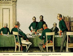 Meeting of the Prussian Army reformers (Heeresreform) in Königsberg in 1807, lithograph by Carl Röchling