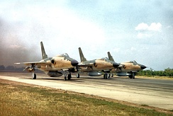 Three F-105s take off on a mission to bomb North Vietnam, 1966