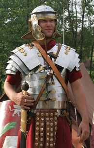 Modern replica of lorica segmentata type armor, used in conjunction with the popular chainmail after the 1st century AD
