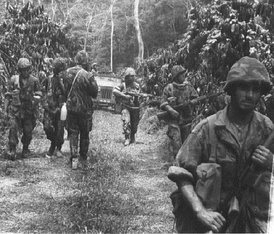 Portuguese troops during the Portuguese Colonial War, some loading FN FAL and G3.