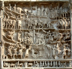 Reliefs depicting war with Parthia on the Arch of Septimius Severus, built to commemorate the Roman victories