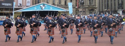 Canada's Simon Fraser University Pipe Band, winner of six World Pipe Band Championships, performing in George Square, Glasgow