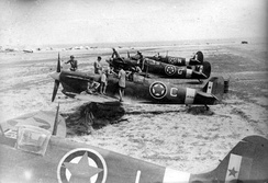 Spitfires Mk Vc (Trop) of 352 (Yugoslav) Squadron RAF (Balkan Air Force) before first mission on 18 August 1944, from Canne airfield, Italy