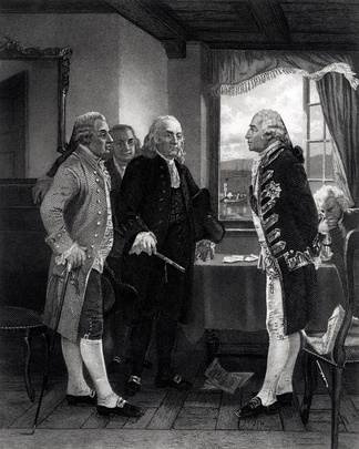 Engraving by Alonzo Chappel depicting the conference