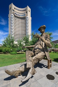 The statue of Ion Luca Caragiale near InterContinental Bucharest