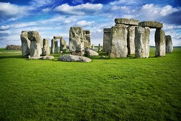 Stonehenge, Wiltshire, United Kingdom, is one of the world's best known megalithic structures.