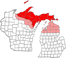"The proposed State of Superior. The red areas show the counties of the Upper Peninsula that are generally accepted as being part of the proposed state. The pink areas show the counties of the ""expanded"" proposal."