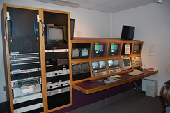 A television studio production control room in Olympia, Washington, August 2008.