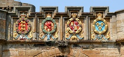 The four European orders of chivalry to which James V belonged are engraved above the arch of the fore entrance: The Order of the Garter, The Order of the Thistle, The Order of the Golden Fleece, and The Order of St. Michael.