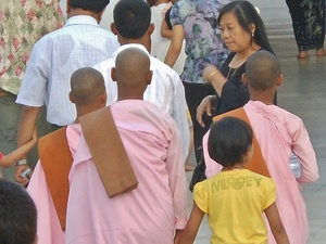 Three nuns in pink in Yangon, Burma.