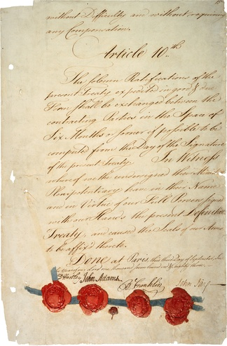 Signature page of the Treaty of Paris of 1783 that was negotiated on behalf of the United States by John Adams, Benjamin Franklin and John Jay