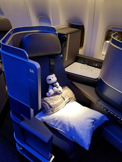United Polaris business class seat on the Boeing 777-300ER