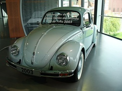 The last Volkswagen Beetle produced, manufactured in Puebla, Mexico, 30 July 2003.