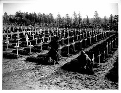 British war cemetery in early 1918 with temporary crosses at Abbeville, France
