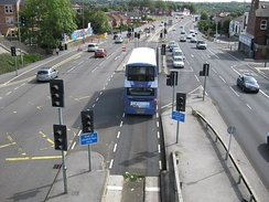 Guided bus lane on York Road.