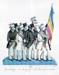 Romanian revolutionaries in Bucharest in 1848, carrying the Romanian tricolor