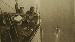 View from a French dirigible approaching a ship in 1918.