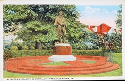 1920 statue in West Park memorializing the Allen Infantry. The soldier is Ignatz Gresser, the only Allentonian to be bestowed the Medal of Honor.