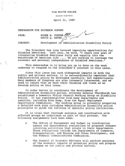 Development of George H.W. Bush Administration Disability Policy. White House Memo. April 21, 1989.[29]