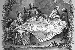 Allegory of the first partition of Poland, showing Catherine the Great of Russia (left), Joseph II of Austria and Frederick the Great of Prussia (right) quarrelling over their territorial seizures