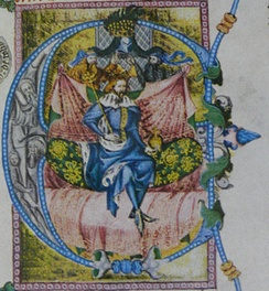 King Wenceslaus depicted in his Bible (the so-called Wenceslas Bible, late 14th century)