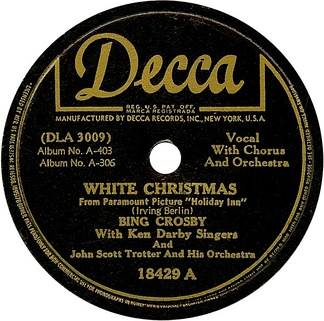 "1942 10-inch 78 rpm release of the single ""White Christmas"" by Bing Crosby."