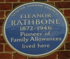 Blue plaque on her house in Tufton Street, Westminster