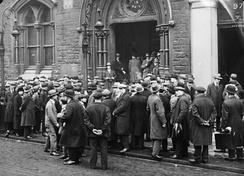 Unemployed people in front of a workhouse in London, 1930