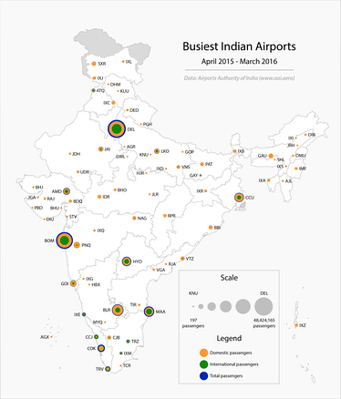 The busiest Indian airports (2015-16).