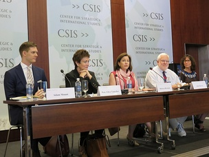 "Adam Mount, Tauscher, Rebecca Hersman, John R. Harvey and Kori Schake at the Center for Strategic and International Studies, Project on Nuclear Issues and Ploughshares Fund panel discussion, ""Debate: U.S. Nuclear Weapon Modernization"", Washington, D.C., June 29, 2017"